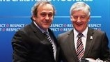 Michel Platini & David Bernstein (UEFA Executive Committee meeting in London)