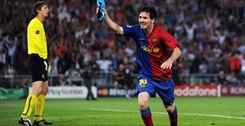 Lionel Messi Celebrate Goal in Final UEFA Champions League
