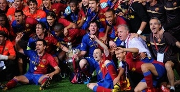 Lionel Messi in FC Barcelona Champions of UEFA Champions League