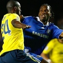 Didier Drogba in action against Barcelona