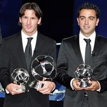 Edwin van der Sar, Lionel Messi, Xavi Hernández and John Terry pose with their UEFA Club Footballer of the Year titles in Monaco